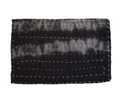 A Boldly Shibori Dyed Zokin: Black and Grey