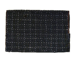 A Dark Sashiko Stitched Cotton Zokin: Grid