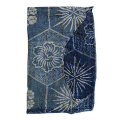 A Small Katazome Cotton Zokin: Faux Shibori