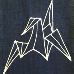 A Tsutsugaki Dyed Panel: Two Origami Cranes