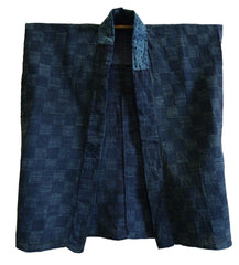 A Remarkable Two Process Indigo Han Juban: Shibori over Katazome