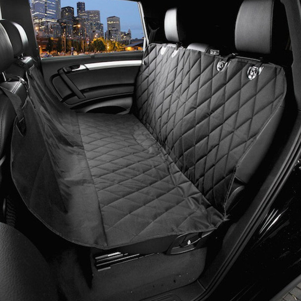 High Quality Dog Back Seat Cover Protector - Comfy Fabric Quilted Non-Slip Technology, Waterproof, Dog Seat Protector-Large (Black)