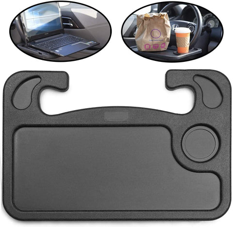 Car Steering Wheel Tray - You Multifunctional High Quality Car Laptop Food Steering Wheel Tray Drink Holder Desk (Black)