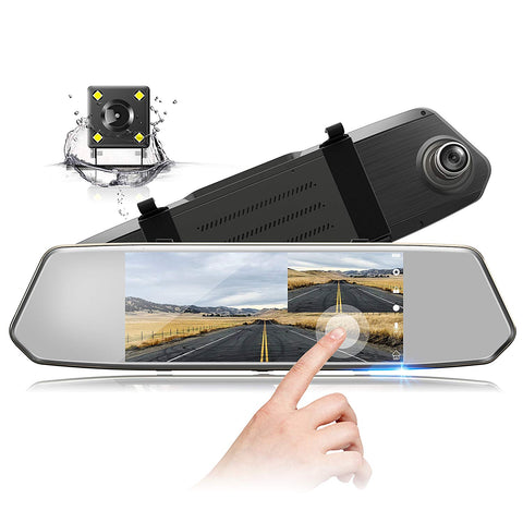 "Explon Dual Mirror Dash Camera - 7"" Touch Screen 1080P Front and Rear"