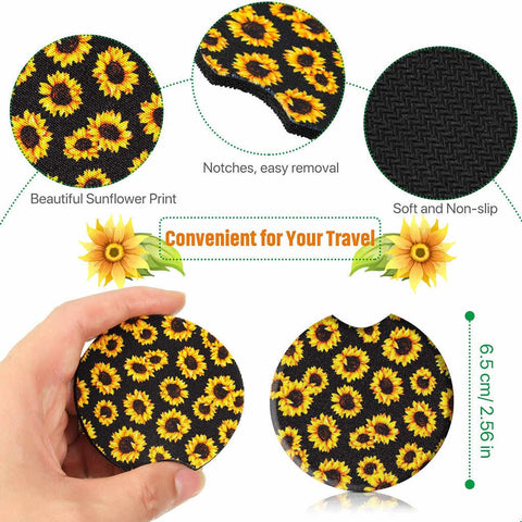 Image of Car Coasters - High Quality Cup Holder for Your Car - 2.75 Inches (Sunflower)