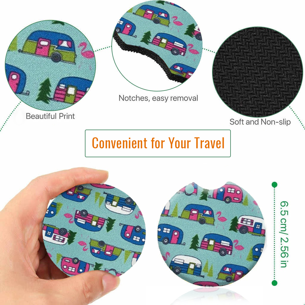 Explon Car Coasters - Cup Holder for Your Car - 2.75 Inches (Mini Bus)