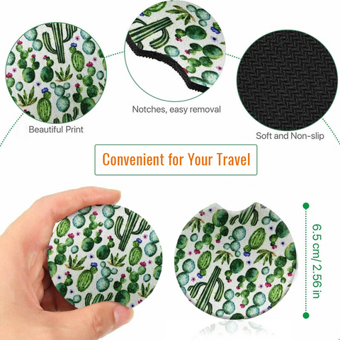 Image of Car Coasters - High Quality Cup Holder for Your Car - 2.75 Inches (Cactus)