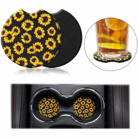 Car Coasters - High Quality Cup Holder for Your Car - 2.75 Inches (Sunflower)