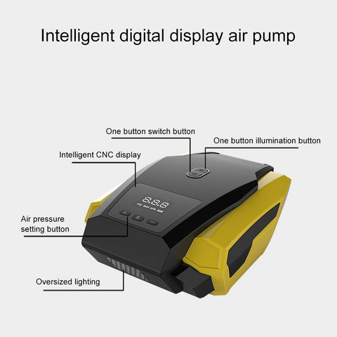 Air Compressor Tire Inflator - DC 12V Portable Auto Tire Pump with LED Light
