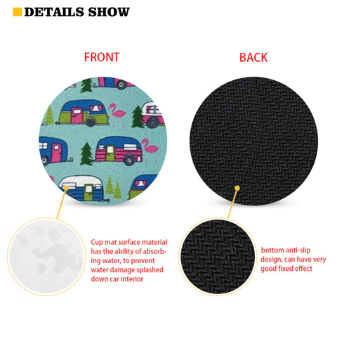 Car Coasters - High Quality Cup Holder for Your Car - 2.75 Inches (Mini Bus)