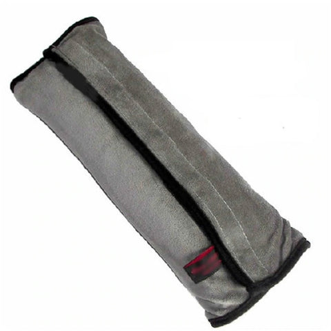 Image of High Quality Seat Belt Pillow for Kids - Extra Soft Support for Travel (Gray/Black)