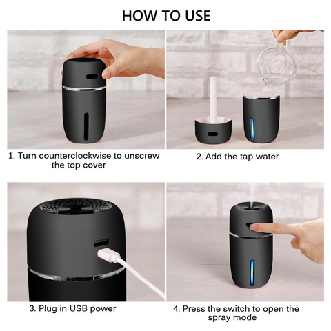 Image of High Quality USB Car Humidifier - 200 Milliliter Mini Portable Air Purifier with 7 LED Light Colors (Black)