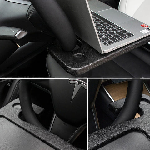 Image of Car Steering Wheel Tray - You Multifunctional High Quality Car Laptop Food Steering Wheel Tray Drink Holder Desk (Black)