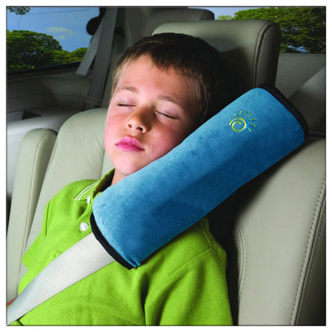 Image of High Quality Seat Belt Pillow for Kids - Extra Soft Support for Travel (Blue)