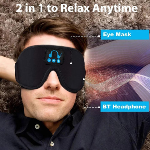 High Quality Sleep Headphones, Bluetooth 5.0 Wireless 3D Eye Mask BT Headband Wireless Sleep Headphones with Stereo Speaker and Mic Speakers