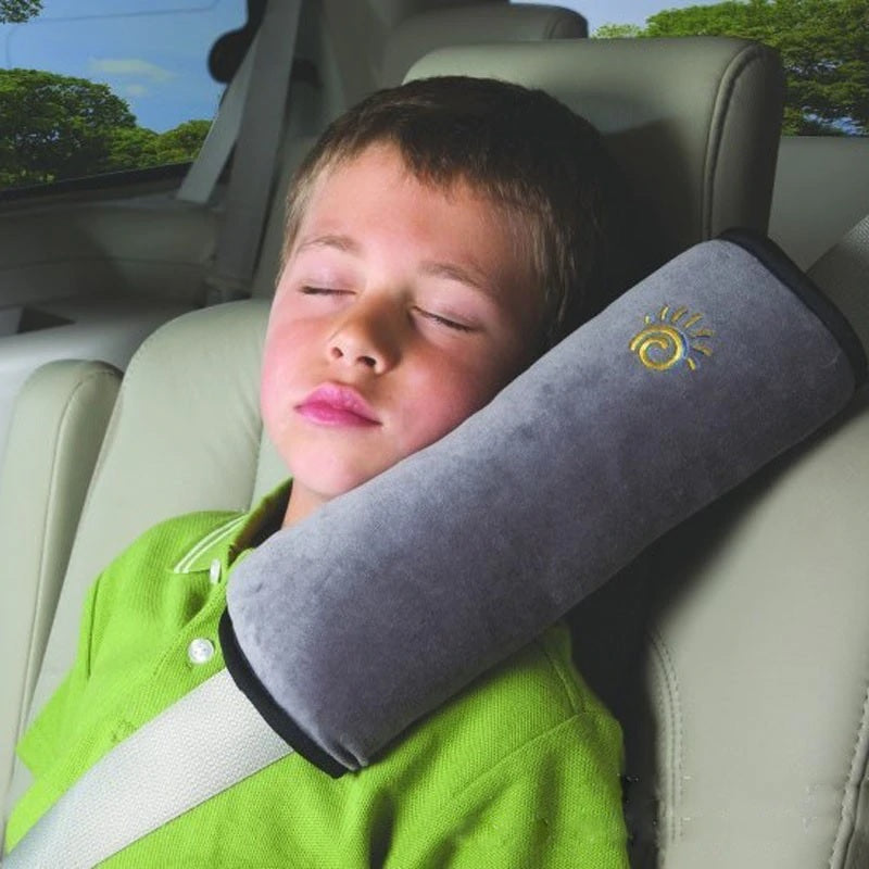 High Quality Seat Belt Pillow for Kids - Extra Soft Support for Travel (Gray/Black)