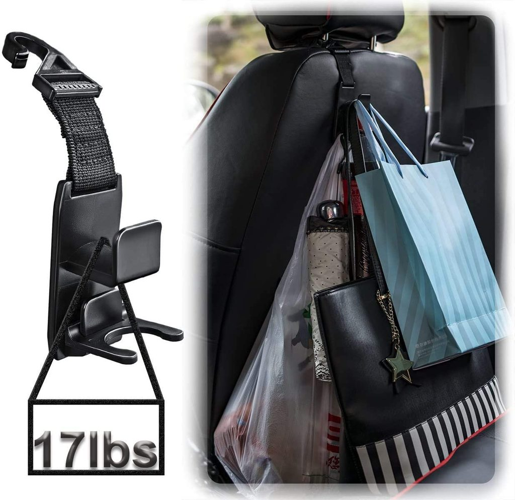 Car Seat Hooks for Car (4 Pack) - High Quality Purse Hanger Headrest Holder for Car Seat Organizer