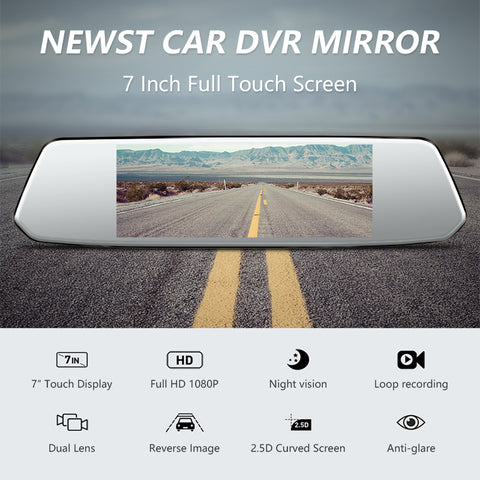 "Image of Explon Dual Mirror Dash Camera - 7"" Touch Screen 1080P Front and Rear"