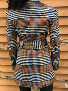 Double Breasted Plaid Belted Blazer