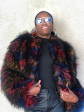 Load image into Gallery viewer, Luxurious Multi-Color Faux Fur Coat