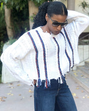 Load image into Gallery viewer, Cropped Wool Ripped Fringe Hem Cable Braid Knitted Sweater