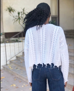 Cropped Wool Ripped Fringe Hem Cable Braid Knitted Sweater