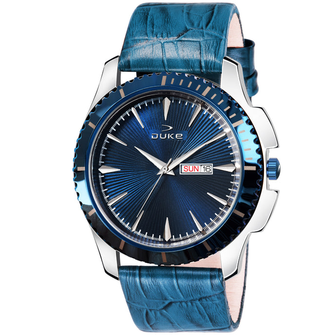 Duke Analog Blue Men's Watch with Leather band for Business,Casual