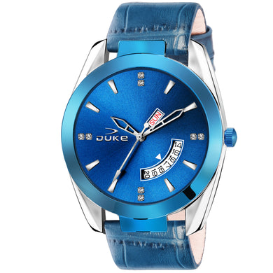 Duke Analog Day & Date Blue Leather Strap Watch for Men's and Boys