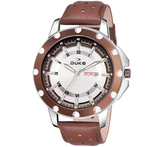Duke Analog Day & Date Brown Watch with Leather Strap for Mens and Boys