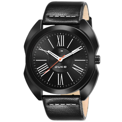 Duke Fashion Casual Analogue Black Dial & Leather Strap Stylish Men's Watch