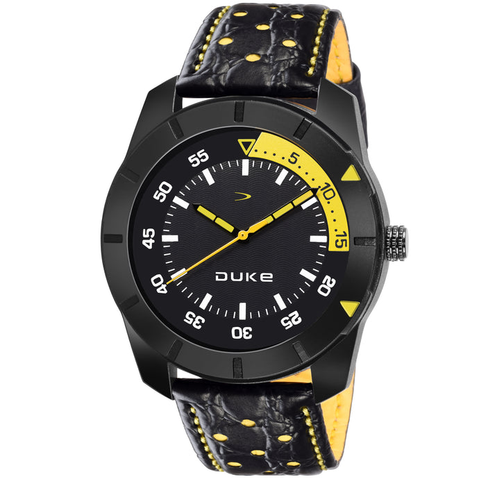 Duke Black & Yellow Analog Men's Formal Leather Strap Watch with Adjustable Buckle