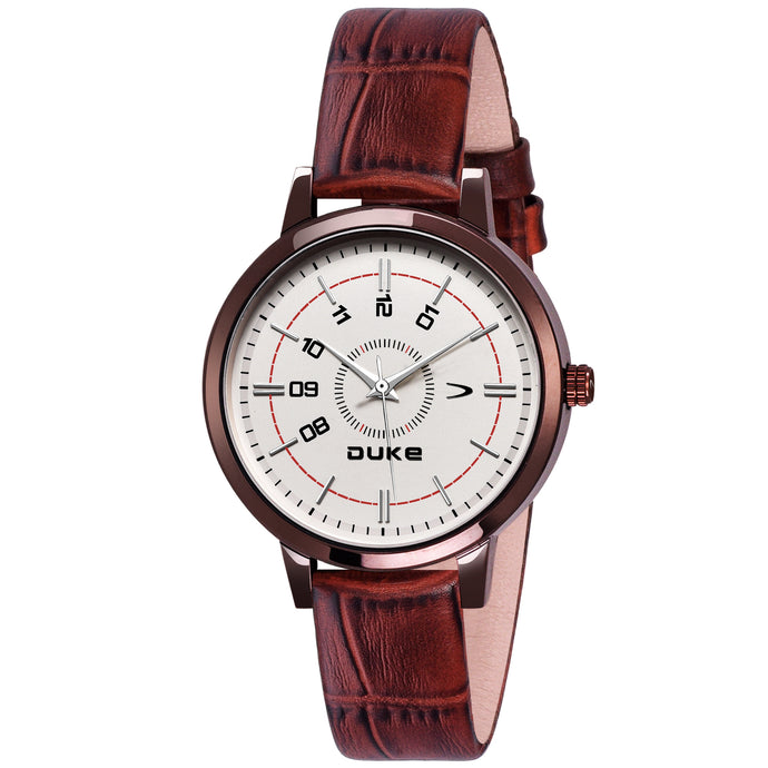 Duke Round Dial Analog Brown Leather Strap Watches for Women & Girl's
