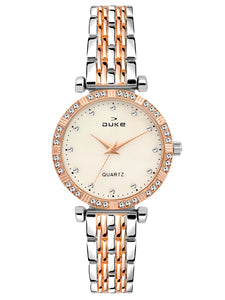 Duke Analog Metal Strap Rose Gold Wrist Watch for Woman and Girls- DK7008RW02C
