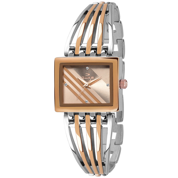 Duke Analog Rosegold Square Dial Casual Quartz Watches for Girl's & Women
