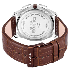 Duke Analog Brown Dial Men's Watch with Leather Band for Business,Casual
