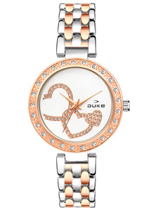 Duke Analog Metal Strap Rose Gold Wrist Watch for Woman and Girls- DK7004RW02C