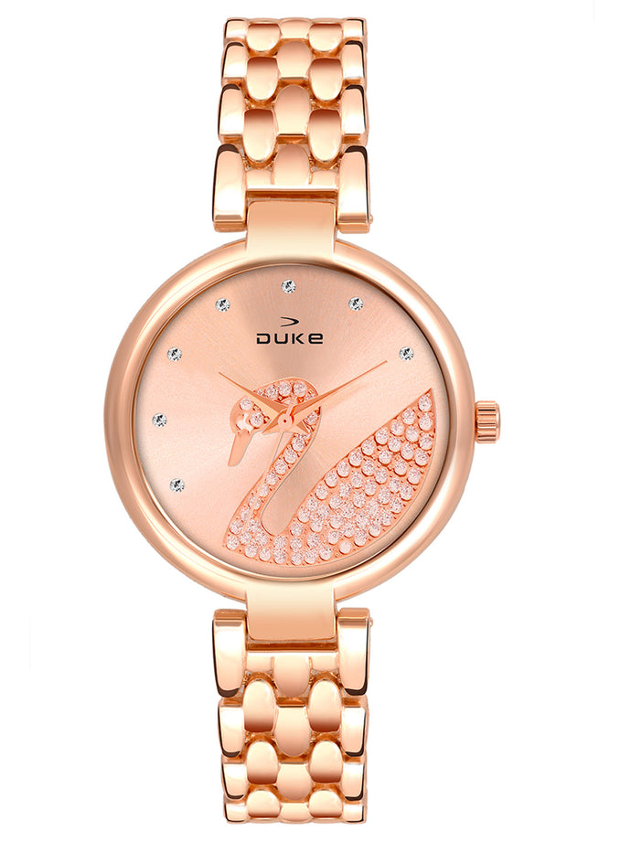 Duke Analog Metal Strap Rose Gold Wrist Watch for Woman and Girls- DK7009RW02C
