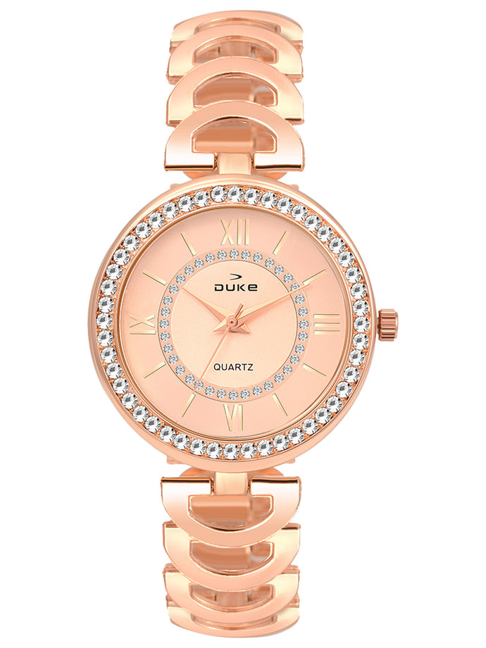 Duke Analog Metal Strap Rose Gold Wrist Watch for Woman and Girls- DK7005RW02C