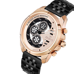Duke Stainless Steel Strap Chronograph Rose Gold Men's Watch-(DK4009CRM02C)