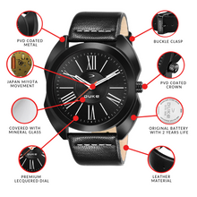 Load image into Gallery viewer, Duke Fashion Casual Analogue Black Dial & Leather Strap Stylish Men's Watch