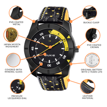 Load image into Gallery viewer, Duke Black & Yellow Analog Men's Formal Leather Strap Watch with Adjustable Buckle