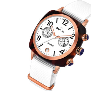 Duke Nylon Strap Chronograph White Wrist Watch for Woman and Girls