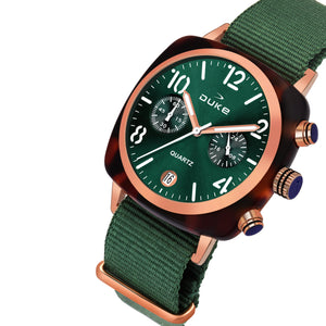 Duke Nylon Strap Chronograph Green Wrist Watch for Woman and Girls