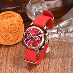 Duke Nylon Strap Chronograph Red Wrist Watch for Woman and Girls