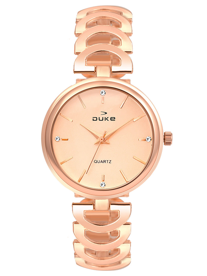 Duke Analog Rose Gold Wrist Watch for Woman and Girls- DK7013RW02C