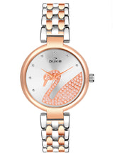 Load image into Gallery viewer, Duke Analog Metal Strap Rose Gold Wrist Watch for Woman and Girls- DK7010RW02C