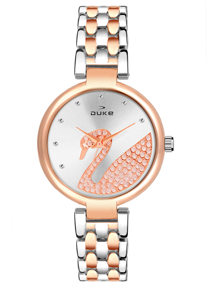 Duke Analog Metal Strap Rose Gold Wrist Watch for Woman and Girls- DK7010RW02C
