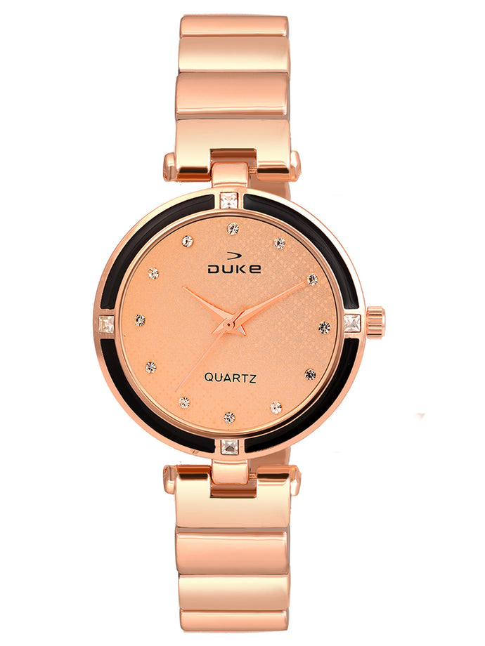 Duke Analog Rose Gold Wrist Watch for Woman and Girls- DK7015RW02C