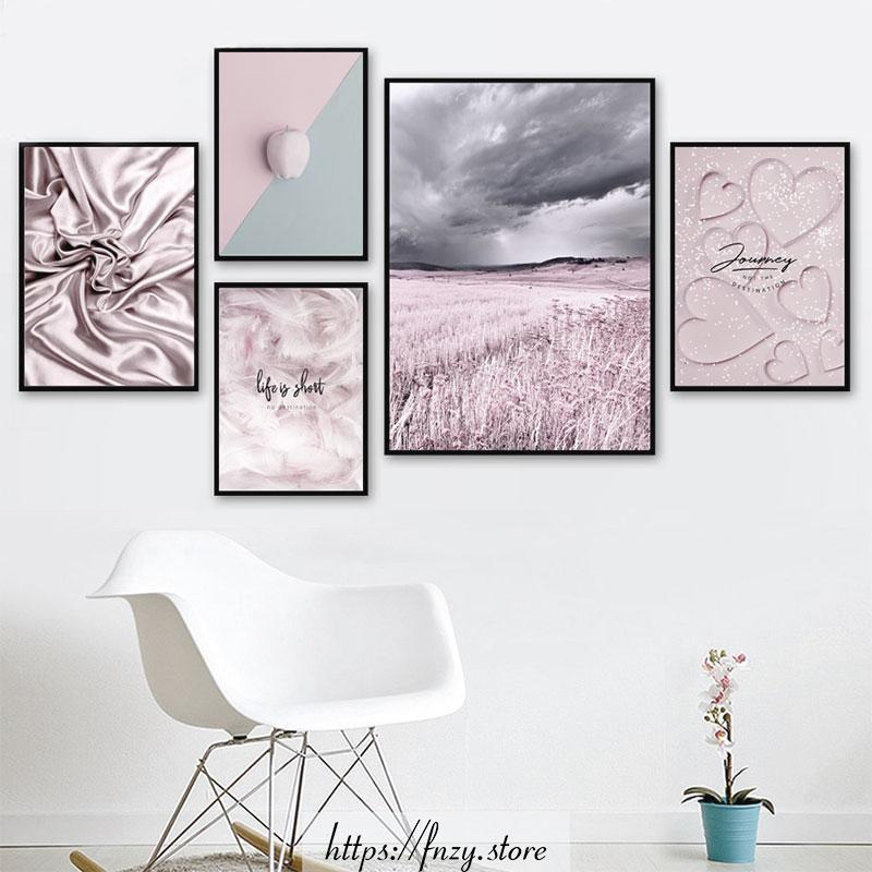Warm Pink Prints And Quotes Wall Art