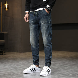 2020 Autumn New Jeans Men Jogger Jeans Pants Elastic Waist Drawstring Harem Pants Retro Blue Casual Mens Jean Hombre Big Size 42